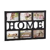 Relaxdays Bilderrahmen Home, Galerierahmen für 6 Fotos 10 x 15 cm, Fotorahmen Collage für die Wand, 33 x 48 cm, schwarz