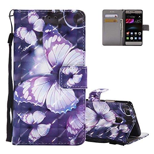 Etui Huawei P9 Lite Violet, Aeeque® Luxe Motif Papillon Glitter Coque en Cuir PU pour Huawei P9 Lite (2016) Anti Choc Anti-rayure Housse de Protection Rigide Bumper avec Carte de Crédit et Support Fonction