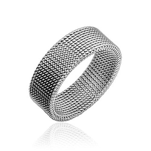Bungsa 57 (18.1) Flexibler Ring Maschen Edelstahl Silber für Damen & Herren 49-70 (Fingerring Schmuckring Modering Mesh Partnerringe Frauen Männer Chirurgenstahl)
