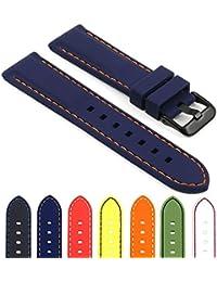 StrapsCo goma buceadores Sport Watch Reemplazo Banda w/color negro mate hebilla