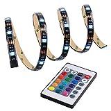 Qedertek LED Streifen, LED Stripes, Weihnachten Deko, 1M 3,28ft, 5050RGB, 30 LED, Farbwechsel und Lichtszenarieneinstellung möglich, mit 24 Tasten IR-Fernbedienung (mehrfarbig)