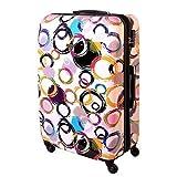 XXL Hartschalen Koffer Multi Color Circles TSA 120 Liter Weiss