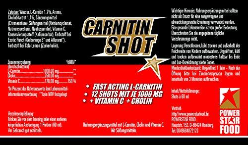 CARNITIN SHOT – HOCHDOSIERT – Fatburner/Fettverbrenner + Cholin & Vitamin C zur Beschleunigung deiner DIÄT & DEFINITIONSPHASE – 12 Fläschchen à 60 ml – MADE IN GERMANY