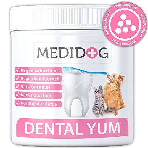 Medidog Dental YUM 250g Extra Stark gegen Mundgeruch, Zahnstein und Verfärbungen, Zahnpflege für Hunde und Katzen, Softgranulat Besser als Zahnpulver, kombinierbar mit Fresh&Clean Dentalspray