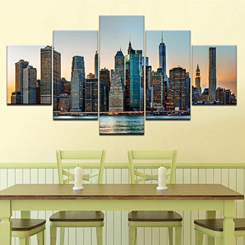 Xzfddn New York City Nyc Skyline Wolkenkratzer 5 Stück Tapeten Moderne Modulare Poster Kunst Leinwand Malerei Für Wohnzimmer Wohnkultur-30X40/60/80Cm,With Frame