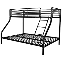 Festnight Metal Triple Sleeper Bunk Bed for Children Kids 200x140/200x90 cm Black