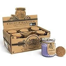 Soy Pot of Fragrance - Velas aromáticas de cera de soja Seis velas surtidas de aromaterapia en tarros de cristal con tapón de corcho. Lavanda, lino, miel, jazmín, manzana y canela, vainilla. Juego de velas aromáticas perfectas para regalo