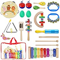 Yissvic Musikinstrumente Musical Instruments Set Spielzeug von Holz Percussion Schlagzeug Schlagwerk Rhythmus Band Werkzeuge für Kinder und Baby