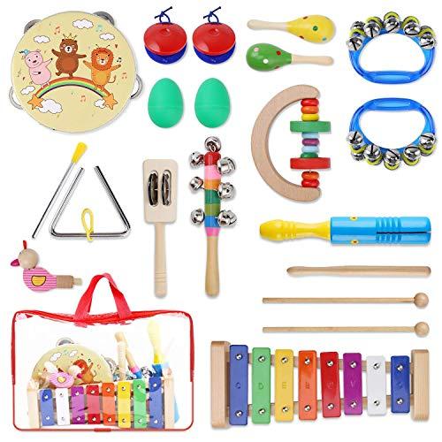 Yissvic 13PCS Musikinstrumente Musical Instruments Set Spielzeug von Holz Percussion Schlagzeug Schlagwerk Rhythmus Band Werkzeuge für Kinder und Baby