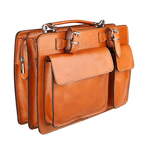 Chicca Borse Unisex Aktentasche Organizer Handtasche Mittlere Maß mit Schultergurt aus echtem Leder Made in Italy 34x24x12 Cm Bräunen