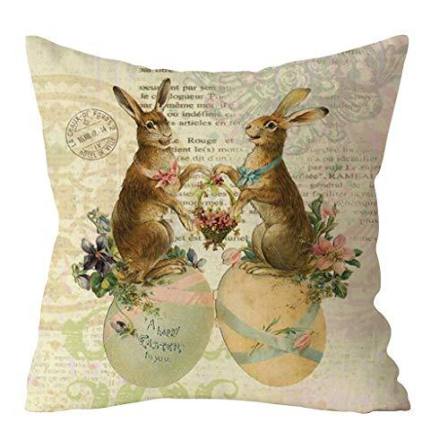 Transwen Kissenhülle, Festlich Kissen Werfen Kissen Abdeckungen Fälle Schutz Muscheln zum Couch Sofa Schlafzimmer Zuhause Ostern Kaninchen Druck Dekor (L)