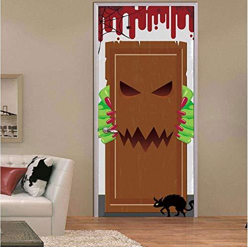 ksufnjerls DIY 3D Halloween Tür Aufkleber Clown Tod Gott Geist Handabdruck Fledermaus Transformiert Werwolf Kürbis Laterne Schädel Home Decor Paste 77x200cm