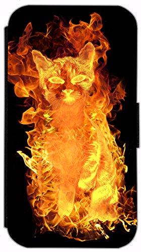 Flip Cover für Apple iPhone 6 / 6S (4,7 Zoll) Design 614 Totenkopf Skull Flammen Schwarz Hülle aus Kunst-Leder Handytasche Etui Schutzhülle Case Wallet Buchflip mit Bild (614) 633