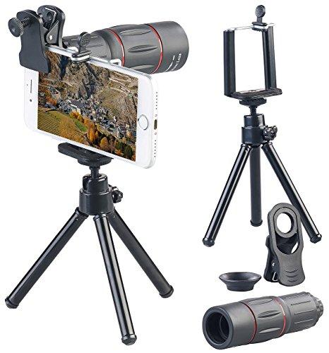 Somikon Teleobjektiv Smartphone: Vorsatz-Tele-Objektiv mit Smartphone-Stativ, 18-fache Vergrößerung (Smartphone-Teleskop)