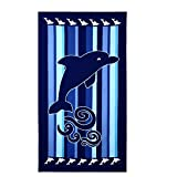 Toalla de playa extra grande de microfibra (100 x 180 cm), para toalla de baño, nadar, silla de playa; cubierta impresa con delfines