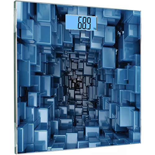 Ultra Slim Hochpräzisionssensoren Digitale Waage mit Körpergewicht Abstraktes Dekor Gehärtetes Glas Personenwaage, Digital Stylized Dimensional Square Shaped Cubes Glossy Geometric Cluster Print, Blau - 2 Würfel Pfund