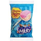 Chupa Chups Lecca Lecca Milky, Lollipop Assortiti Aroma Cacao e Vaniglia, Panna Fragola e Caramel, Busta da 120 Lollipops Monopezzi