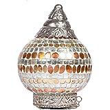 Brown Village Multi Color Hanging Mosaic Glass Lamp & Tea Light