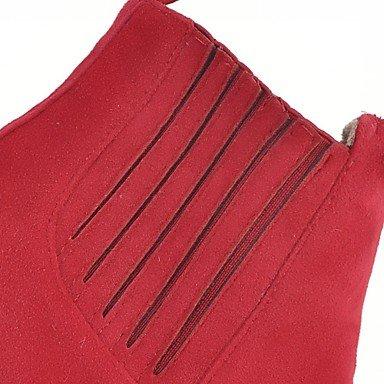 GLL&xuezi Da donna Stivaletti Comoda Innovativo Primavera Inverno Finta pelle Casual Nappa Quadrato Nero Giallo Rosso 5 - 7 cm red