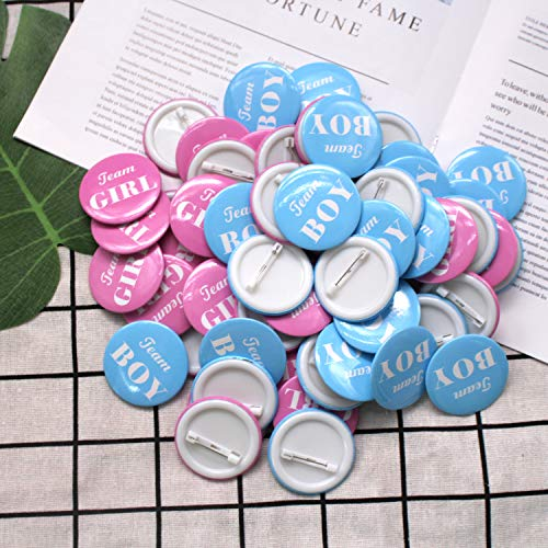 U&X 60 Stück Gender Reveal Party Supplies, die Pins Boy Girl Pinback Button Pins für Team Baby Shower Party Favors-perfekte Gender Reveal Button -
