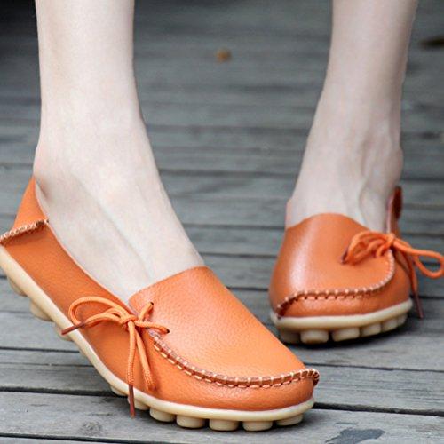 Miagolio Donna Scarpe Stringate Basse Mocassino Flats In Pelle Morbide Casuale Di Vari Colori Tglia 34-43 Arancione