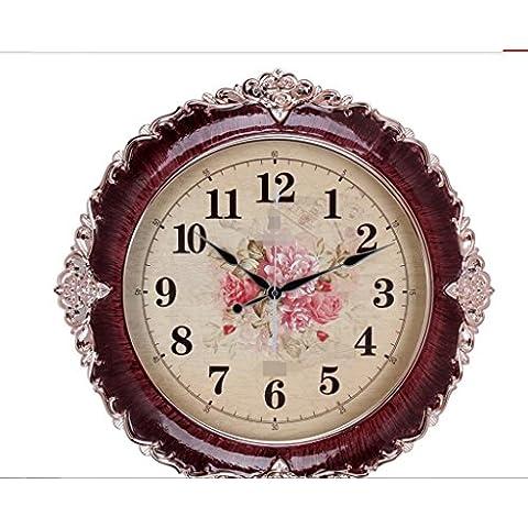 orologio da parete pastorale, neoclassico cristallo epossidica rosa orologio d'oro, orologio europea soggiorno