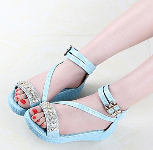 L'été dans les chaussures bas-top avec des coins sandales femme strass lake blue