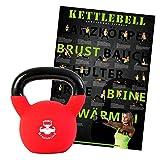 Kettlebell Neopren, Hantel Kugelhantel Handgewicht 4 kg, 6 kg, 8 kg, 10 kg, 12 kg, 14 kg, 16 kg, 18 kg, oder 20 kg + Kettlebell - Workout Übungsposter DIN A1 Training Poster (16 kg + Poster)