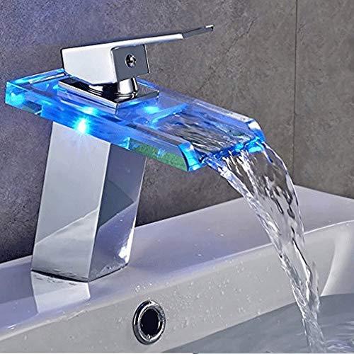 ZHANGZHIYUA Badezimmer LED Licht Waschbecken Wasserhahn, Wasserfall Glasauslauf Becken Wasserhahn, Kalt-und Warmwasser Mischer Waschbecken Wasserhahn, Temperaturempfindliche 3 Farben Änderungen