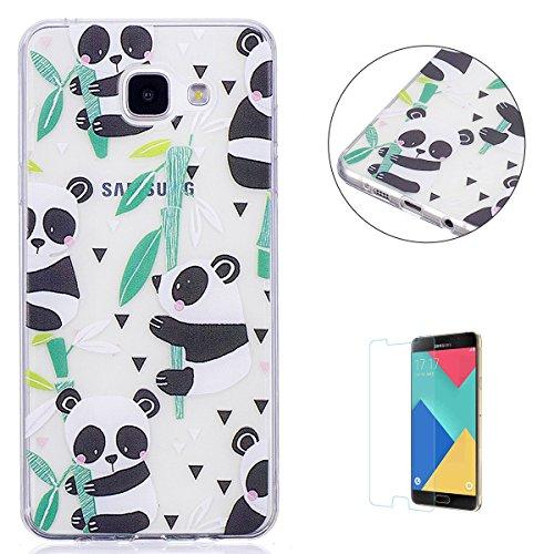 KaseHom Case for(Galaxy J510/J5 2016) Cas de TPU Clair Cristal[gratuit Protecteur d'écran] Conception drôle d'anime Ultra Mince Doux Couvercle de pare-choc en caoutchouc-Panda en bambou
