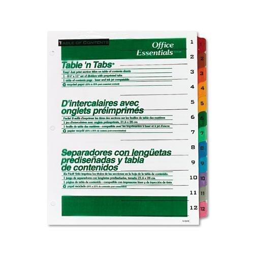 officeessentials 11673Office Essentials Tisch 'n Taben Trennblätter, 12Multicolor Taben, 1–12, Letter, - 12 Teiler Index