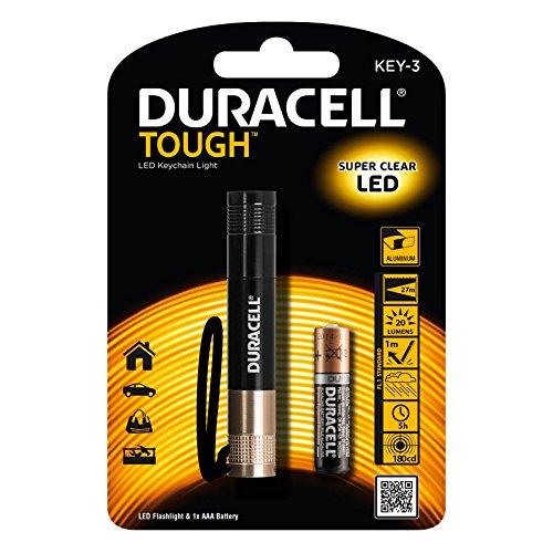 Preisvergleich Produktbild Duracell LED Taschenlampe mit Super Clear im Aluminium Gehäuse mit Schlüsselband KEY-3