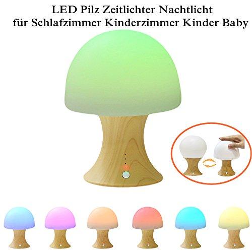 Nachtlicht,KINO LED Pilzlampe Silikon Holz Tischlampe Kinder Nachtlampe Lampen USB aufladbare Beleuchtung Simulation Hölzerne Nachtlichter für Schlafzimmer Geburtstag Geschenk (Lampe Hölzerne)