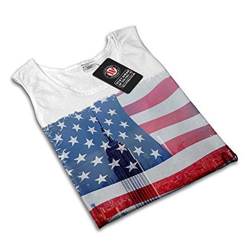 USA Entwurf Cool Wellcoda amerikanisch Stadt Damen S-2XL Muskelshirt | Wellcoda Weiß