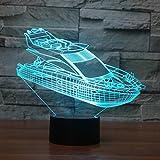 3D yacht Illusions-Lampen, Tolle 7 Farbwechsel Acryl berühren Tabelle Schreibtisch-Nachtlicht mit USB-Kabel für Kinder Schlafzimmer Geburtstagsgeschenke Geschenk