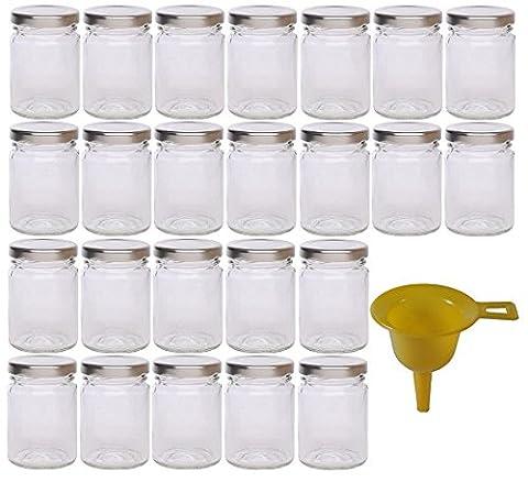 Viva Haushaltswaren - 24 x kleines Einmachglas 106 ml mit silberfarbenem Deckel, runde Glasdosen als Marmeladengläser, Gewürzdosen, Gastgeschenk etc. verwendbar (inkl. (Runde Dekorative Jar)