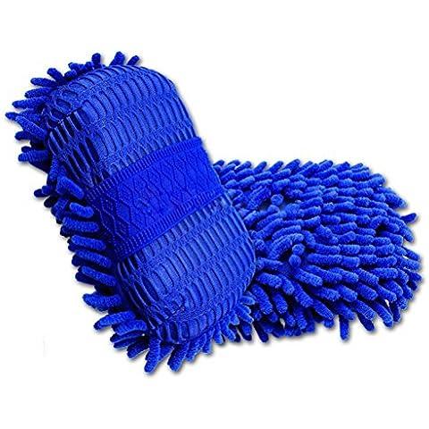 EarthSafe® Car Wash Mitt, Pad in microfibra ciniglia Cera pulizia spugna (Blu scuro)