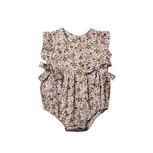 DEELIN Neugeborenes Rompers Floral Sommerkleidung Bodysuit Spielanzug Baby Strampelhöschen Kleinkind Mädchen Blumen Drucken Gurt Overall ärmelloses Outfits
