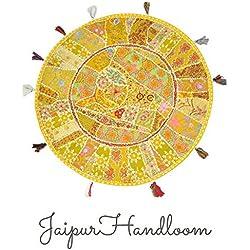 jaipurhandloom indio bordado Patchwork Cojín de suelo (redondo, para almohadas, salón indio Puf Puf Puf redondo decorativo, étnico indio 82cm o 22inch