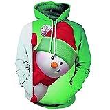 Sunnywill Camicia da Uomo a Maniche Lunghe con Felpa con Cappuccio e Manica Lunga Stampata 3D Christmas Pullover