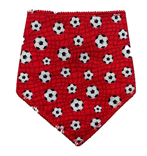 Spoilt Rotten (S4) Red Football Pets Bandana. Large Size Generally Fits Rottweilers and St Bernard Sized Dogs. Neck Size 23″ to 28″ Gorgeous Range of Patterns & Colours. (Red Football)