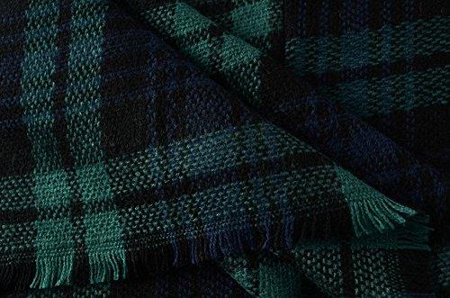 Ferand - Poncho Collo V Elegant Leggero Plaid Lavorato a maglia per l'Autunno - Donna Navy blu & verde