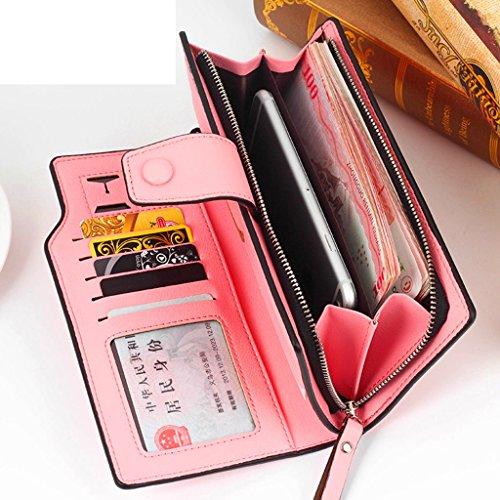 La signora Grandi Zip portafoglio portafoglio Slim Wallet grande capacità Snaps sacchetto del telefono ( colore : Viola ) Viola