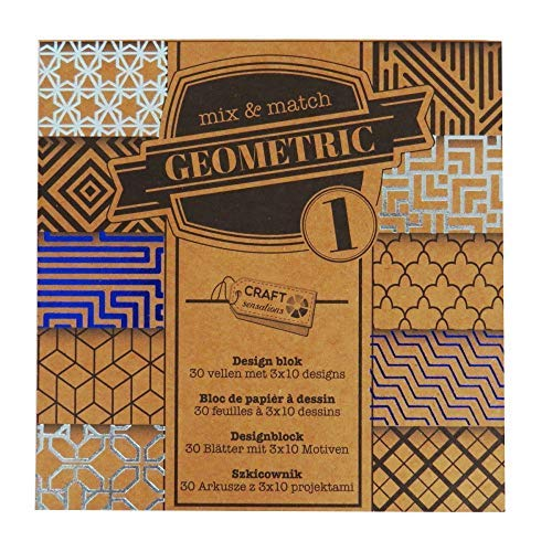 Craft Sensations Natürlich Blumen Vintage Bastelpapier Druckdesign Polster 30 Blatt & 10 Designs in Jedem - Geometrisch Design -