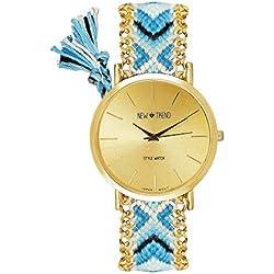 Beach Style Women's Watch Bracelet Blue Light Blue Gold Watch Arabic Numerals in Blogger Women Hippie Boho Festival Boho Anchor, World Map, Feather Friendship Bracelet Dalas MINGBO Bijou V6
