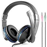 CLiPtec Bmh529Pc-Wave–3.5mm Jack Audio/Micro Casque PC multimédia–téléphonie Internet on-Ear, Micro, PC, Ordinateur Portable [/Mic contrôle de Volume en Ligne]–Noir...