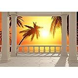 Vlies Fototapete 400x280 cm PREMIUM PLUS Wand Foto Tapete Wand Bild Vliestapete - TERRACE VIEW CARIBBEAN SUNSET - Ausblick Terrasse Seeblick 3D Strand Beach Meer Sonne Palmen - no. 123