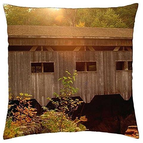 Bissell Bridge, Charlemont, Massachusetts - Throw Pillow Cover Case (16
