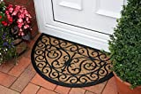 The Rug House Tappetino per ingresso a semicerchio in fibra naturale di cocco e gomma 45x75cm