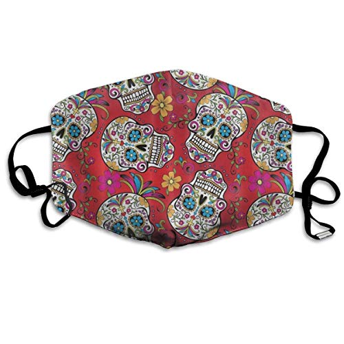 Nicegift Sugar Skull Cross Flower Gesichtsmaske, atmungsaktiv, Staubfilter, Masken mit elastischer Ohrschlaufe
